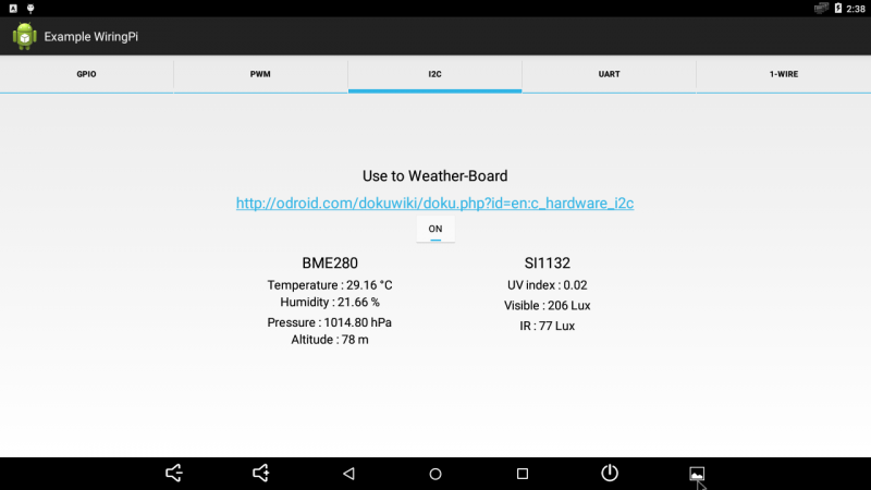 Figure 14 - Hardkernel's Weather Board measures environmental statistics