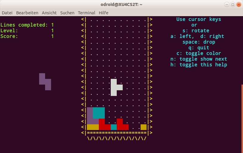 Figure 1 - Tetris in BASH on the command line