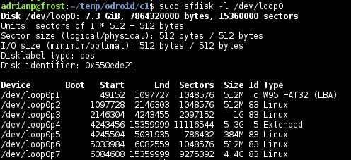 Figure 3 - Identify the start sector of the first partition with sfdisk and sector size