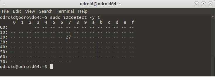 ODROID Magazine Figure 2 - Detected I2C devices using i2cdetect