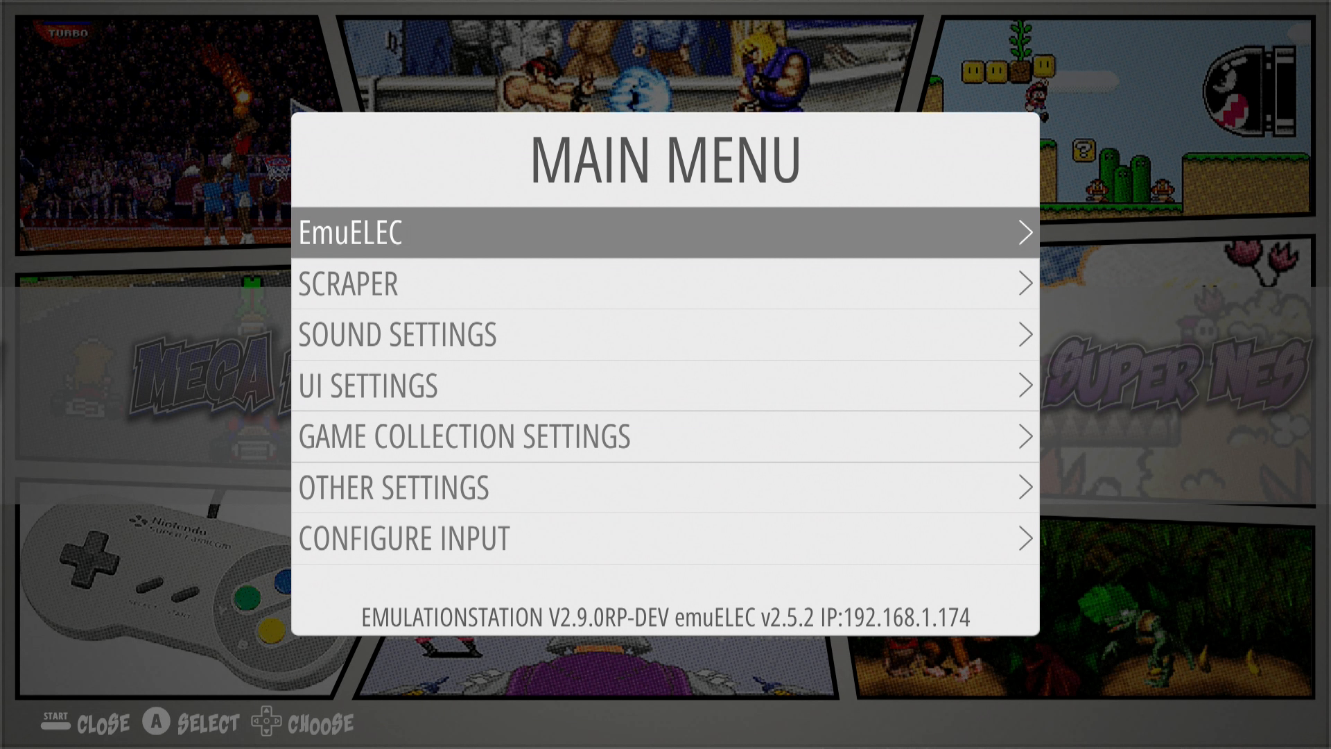 Figure 1 - Main Menu for the emuELEC emulation operating system