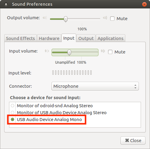 ODROID Magazine Figure 2 - Selecting the USB Audio Device as input in the Sound Preferences control panel