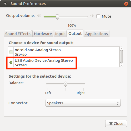 ODROID Magazine Figure 3 - Selecting the USB Audio Device as output in the Sound Preferences control panel