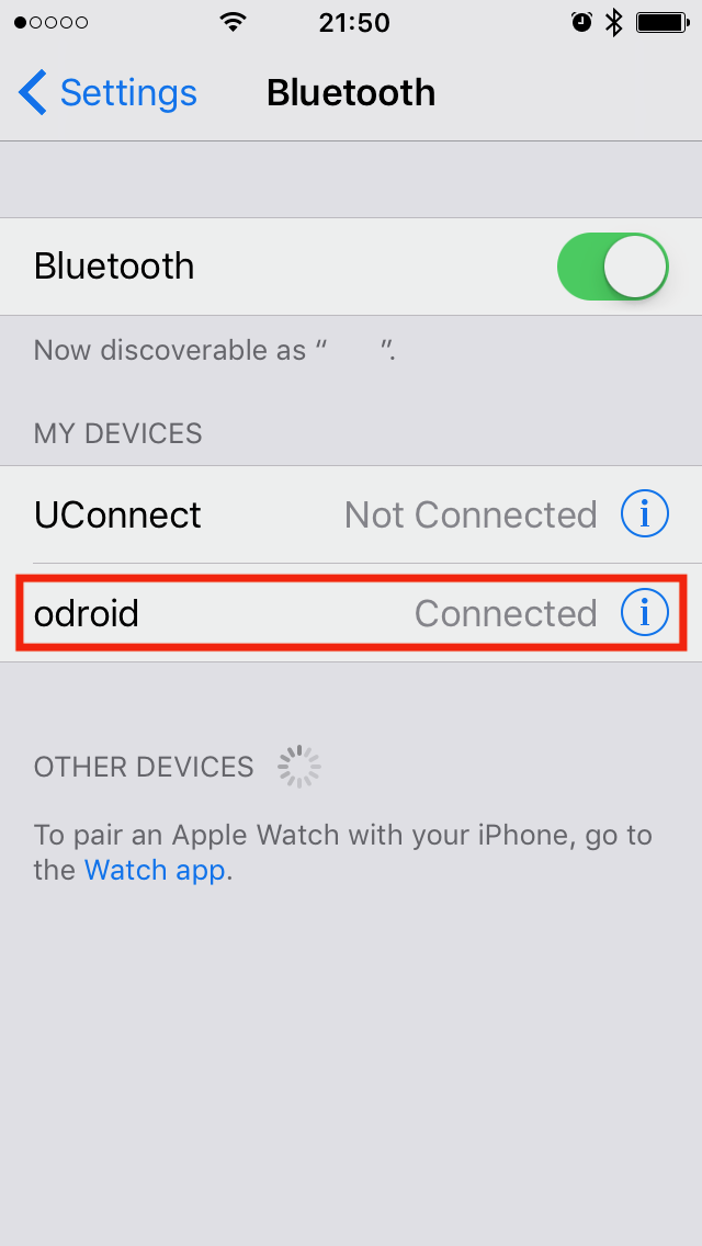 Figure 4 - Connecting the ODROID in the iPhone Bluetooth settings