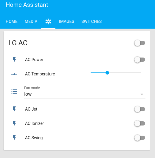 Home Assistant : Using Infrared, Motors, and Relays: Figure 4 - Basic support for Air Conditioning