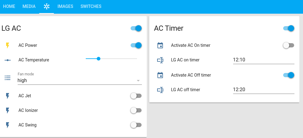 Home Assistant : Using Infrared, Motors, and Relays: Figure 5 - AC controls with timers