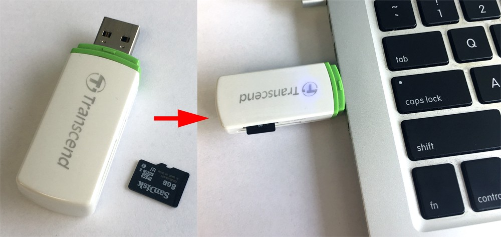 ODROID Figure 3 - Inserting the USB adapter and microSD card in the computer