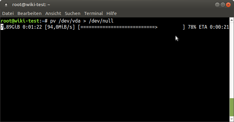 Figure 4 - Dumping the Virtual HDD image of a running VM to /dev/null to check read performance of the NFS storage pool