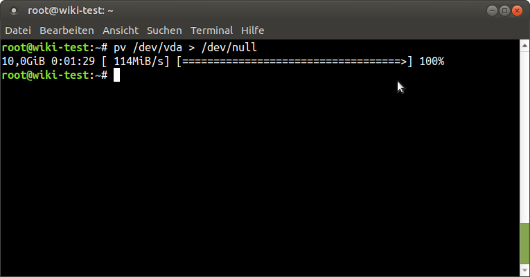 Figure 5 - Dumping the Virtual HDD image of a running VM to /dev/null to check read performance of the NFS storage pool
