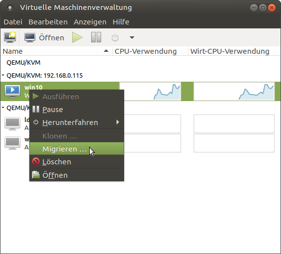 Figure 6 - Migrating a VM via virtual machine manager