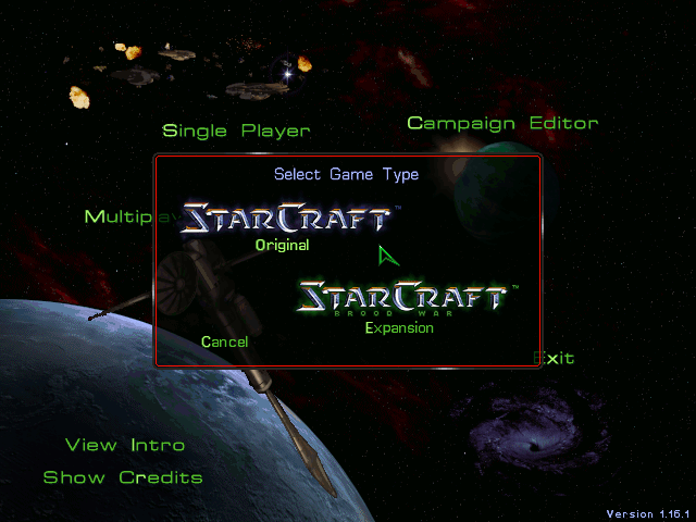 Figure 2 - You can play both StarCraft and Brood War