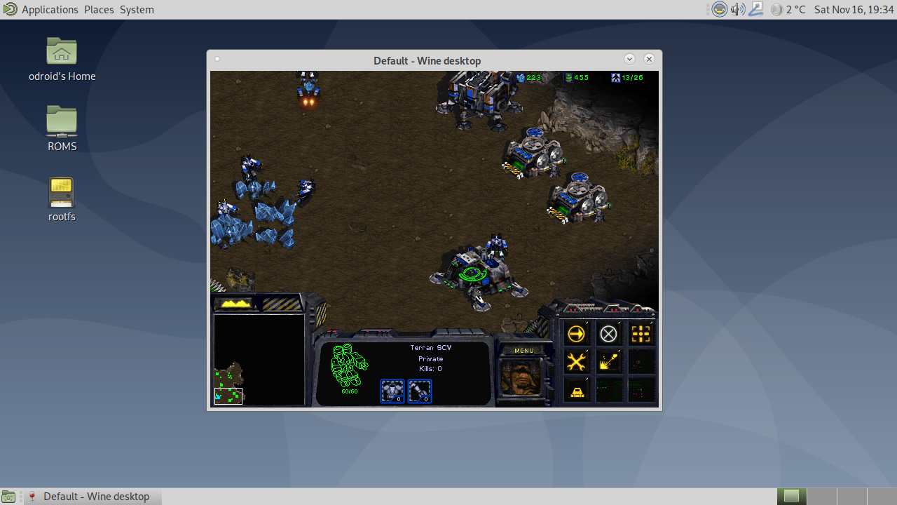 Figure 6 - Running StarCraft in a Window directly on the desktop, keep in mind the window is only 640x480 and can't be changed