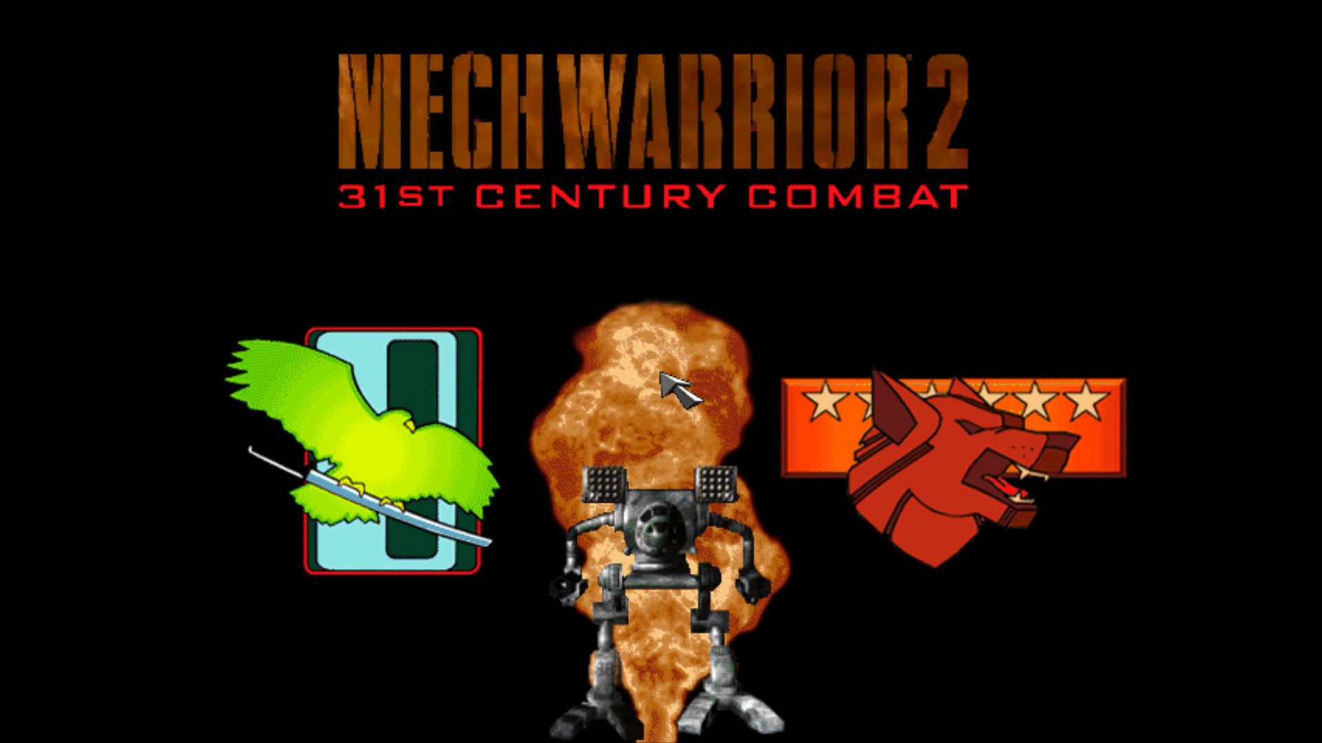 Figure 1 - Mech Warrior 2 Menu – Play Clan Jade Falcon, Clan Wolf, or simulated battles