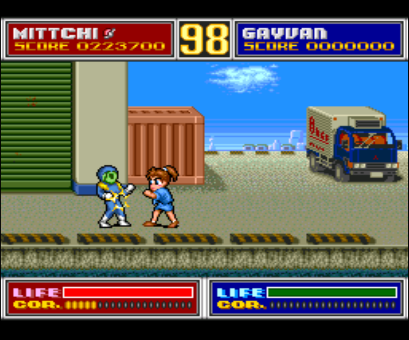 Figure 1 - Fighting off regular enemies in a somewhat cartoon style