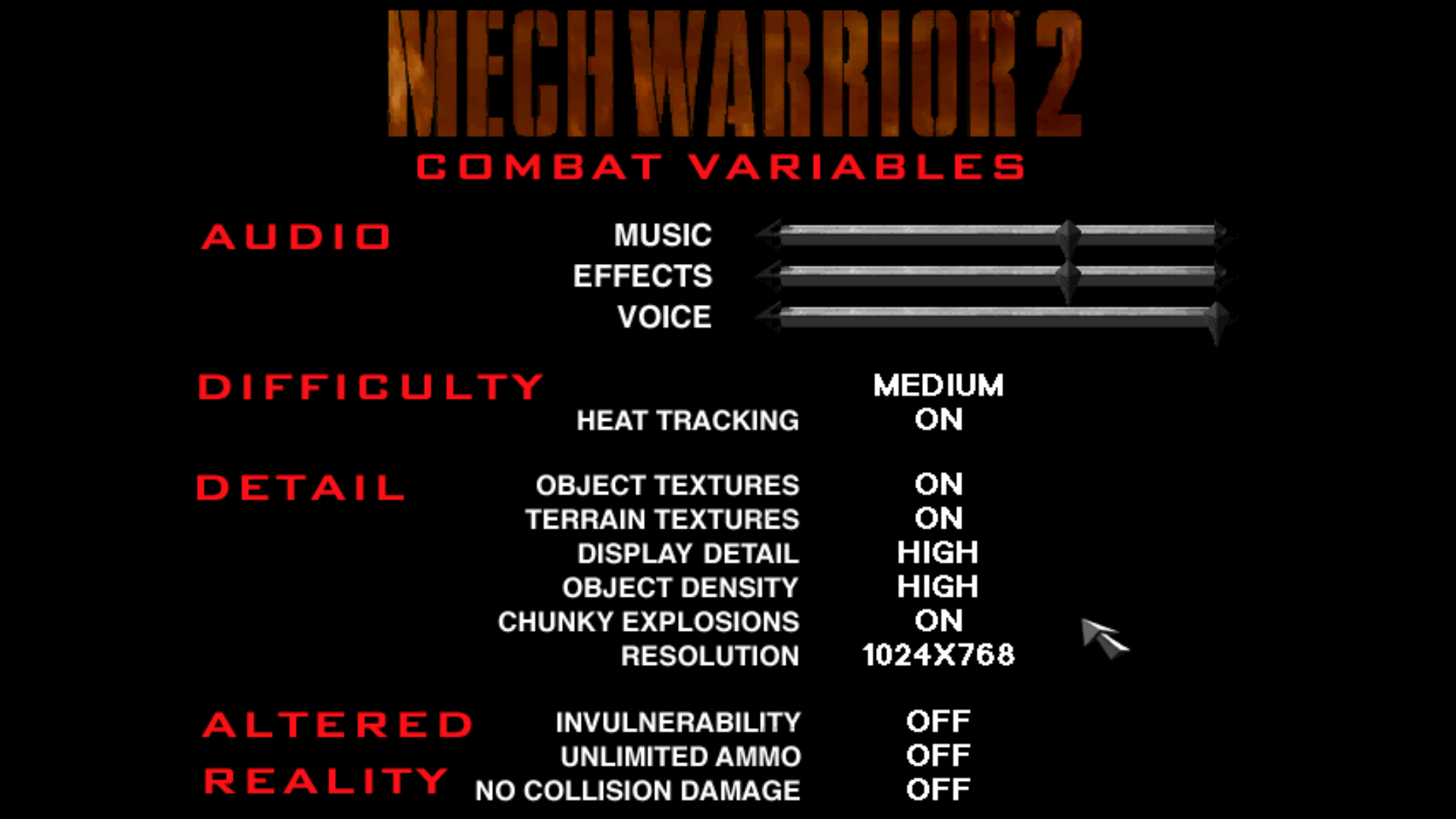 Figure 2 - Combat variables for Mech Warrior 2 with build-in cheat options