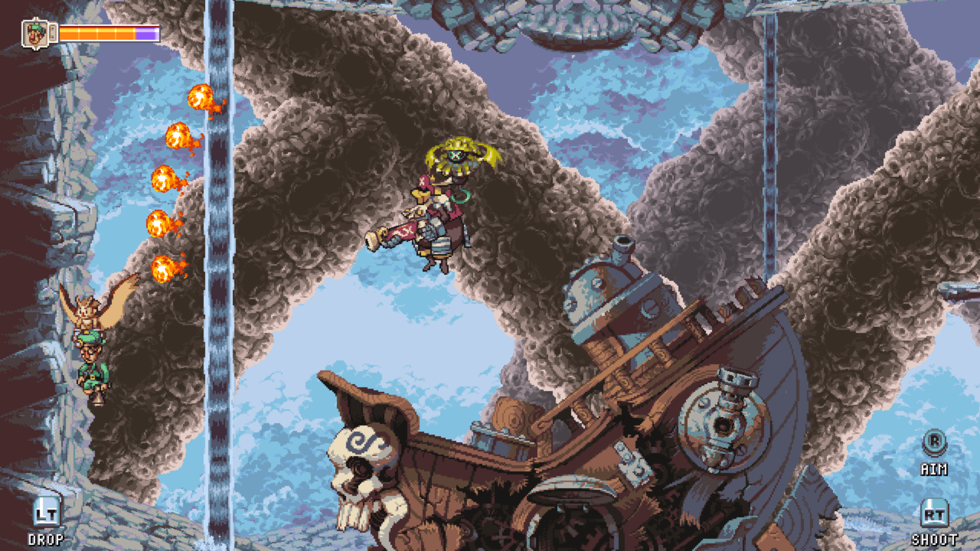 Figure 7 - In this fight you attack the pirate that is flying around but also have to destroy the ship that shoots at you when his captain recovers