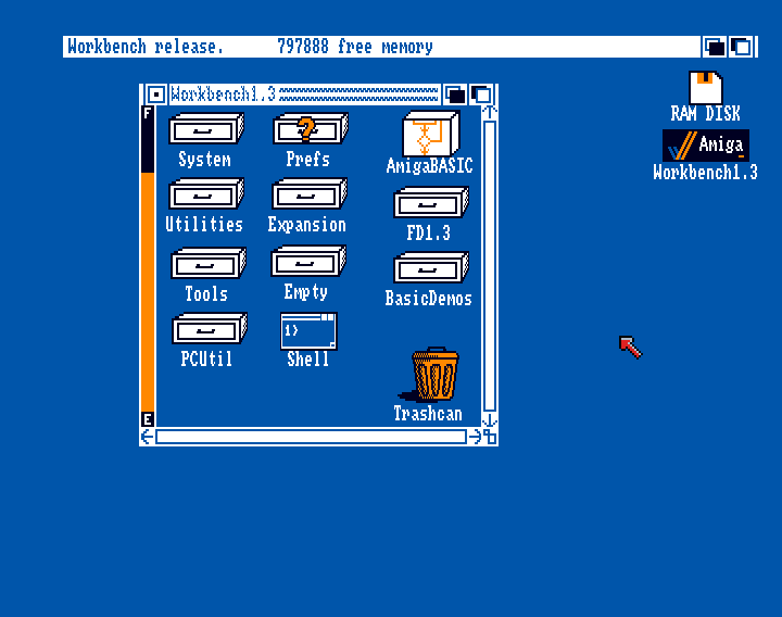 Figure 8 - Workbench 1.3 on an Amiga running from HDD