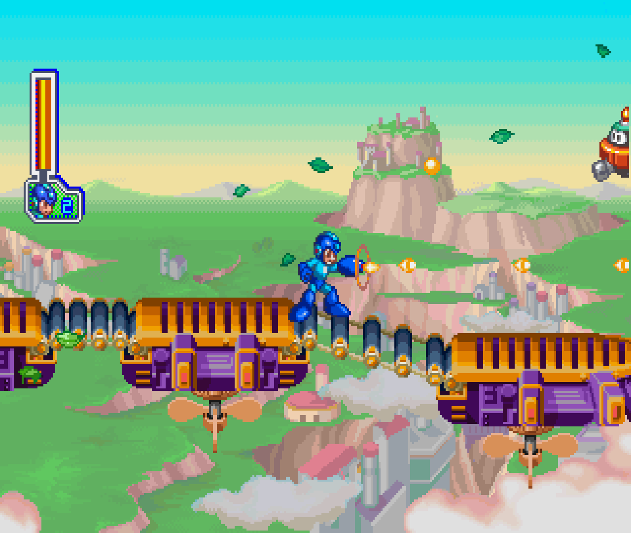 Figure 9 - There are different levels in Mega Man 8, such as up in the sky