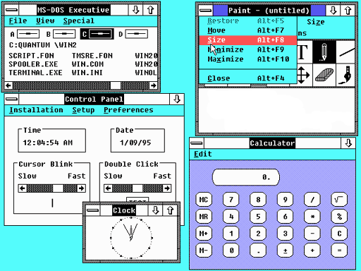 Figure 9 - Windows 2.0 under DOS for IBM PC
