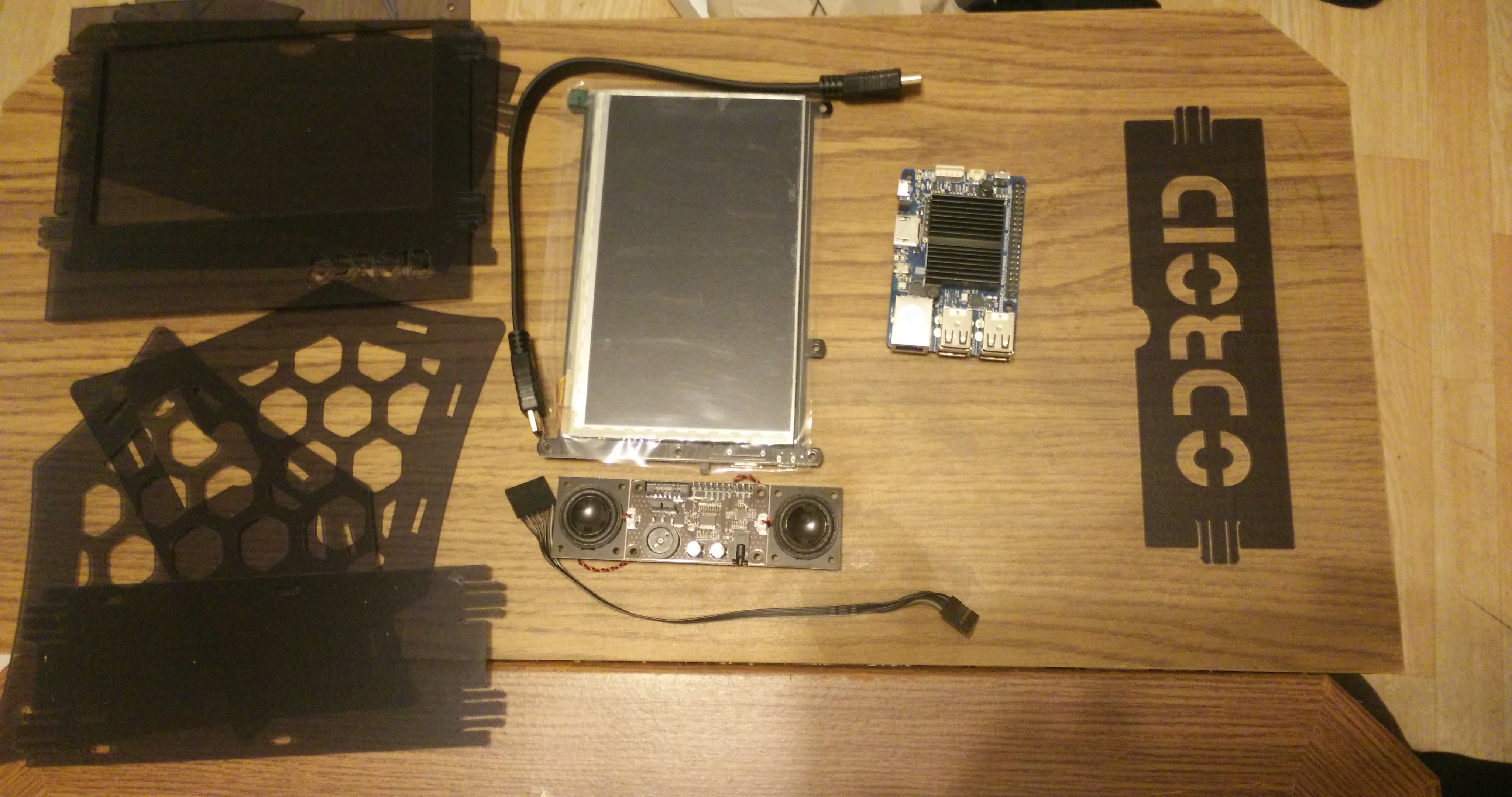ODROID Magazine Figure 1 - The main components for the project laid out together ready for assembling