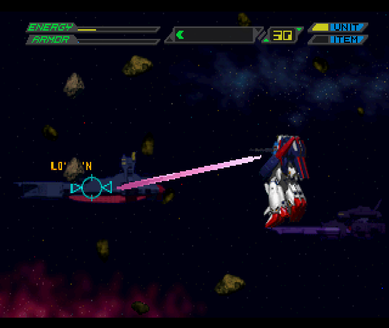 "Figure 17 - Aiming at an enemy in the background only works in Gangnam--erm--""Gundam-Style"""