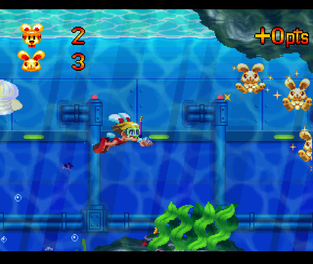 Figure 18 - Diving underwater. Note the bright colors