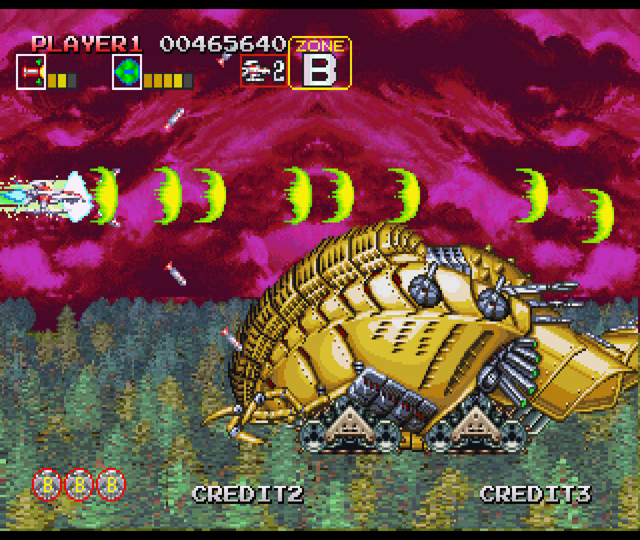 Figure 19 - Fighting the stage B boss with newly upgraded weapons