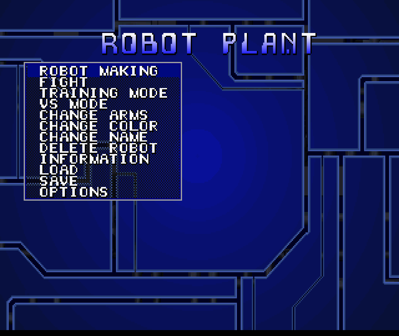 Figure 26 - The game menu is very simplistic, but it allows you to access all aspects of your robot and your career