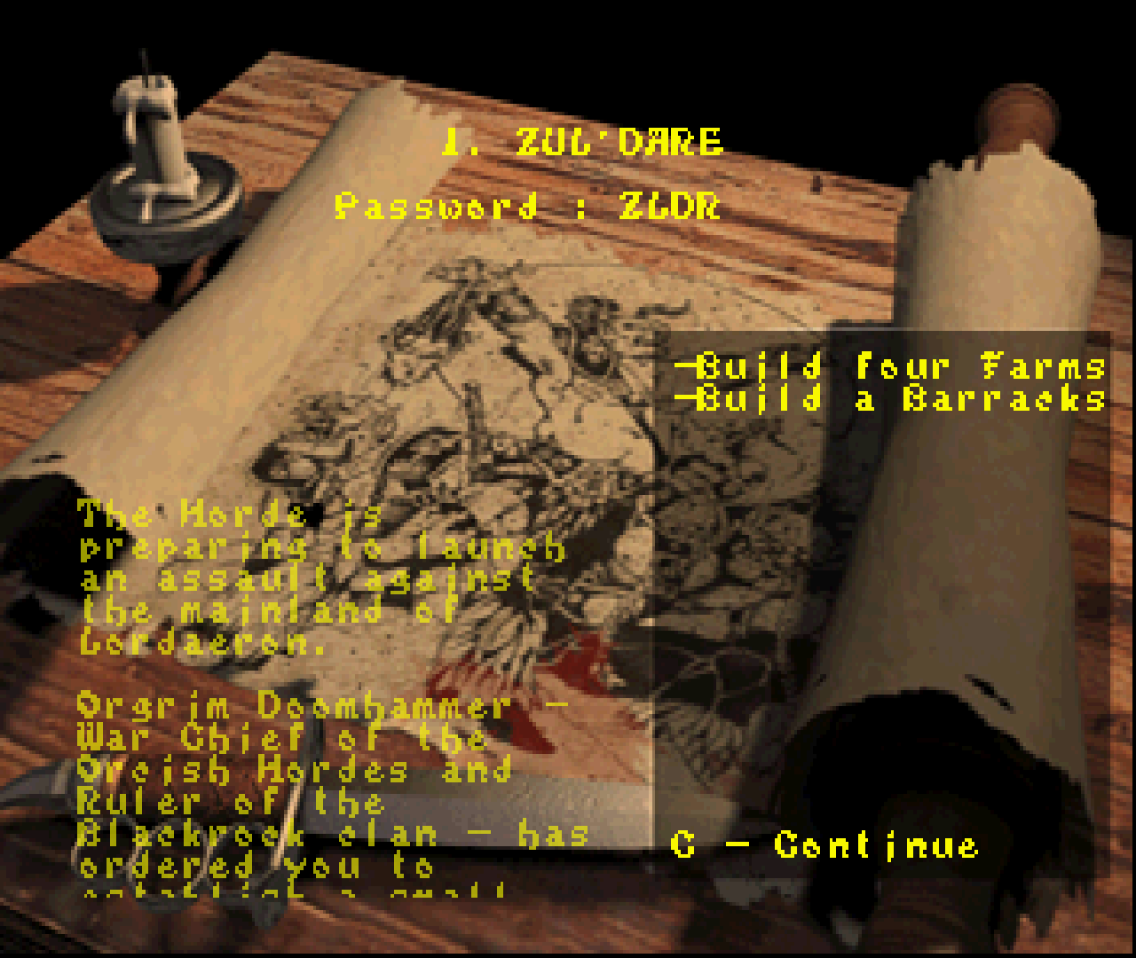 Figure 26 - Mission overview with level password fully voiced mission description