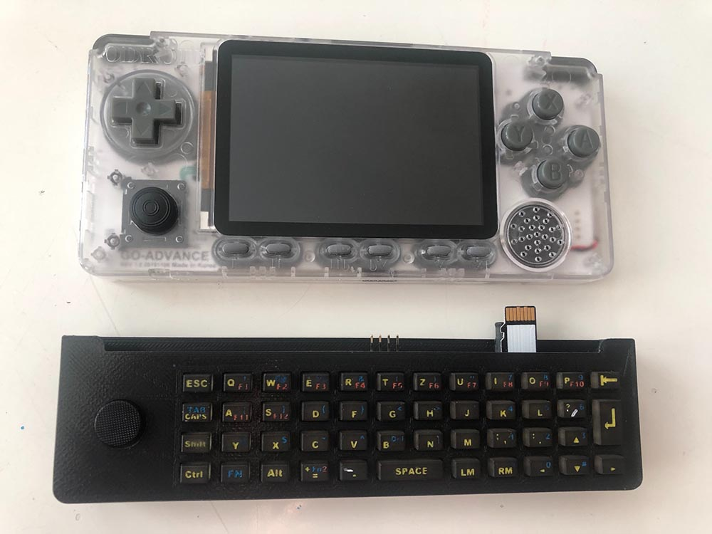 Figure 10 - Keyboard not attached, showing the microSD extension