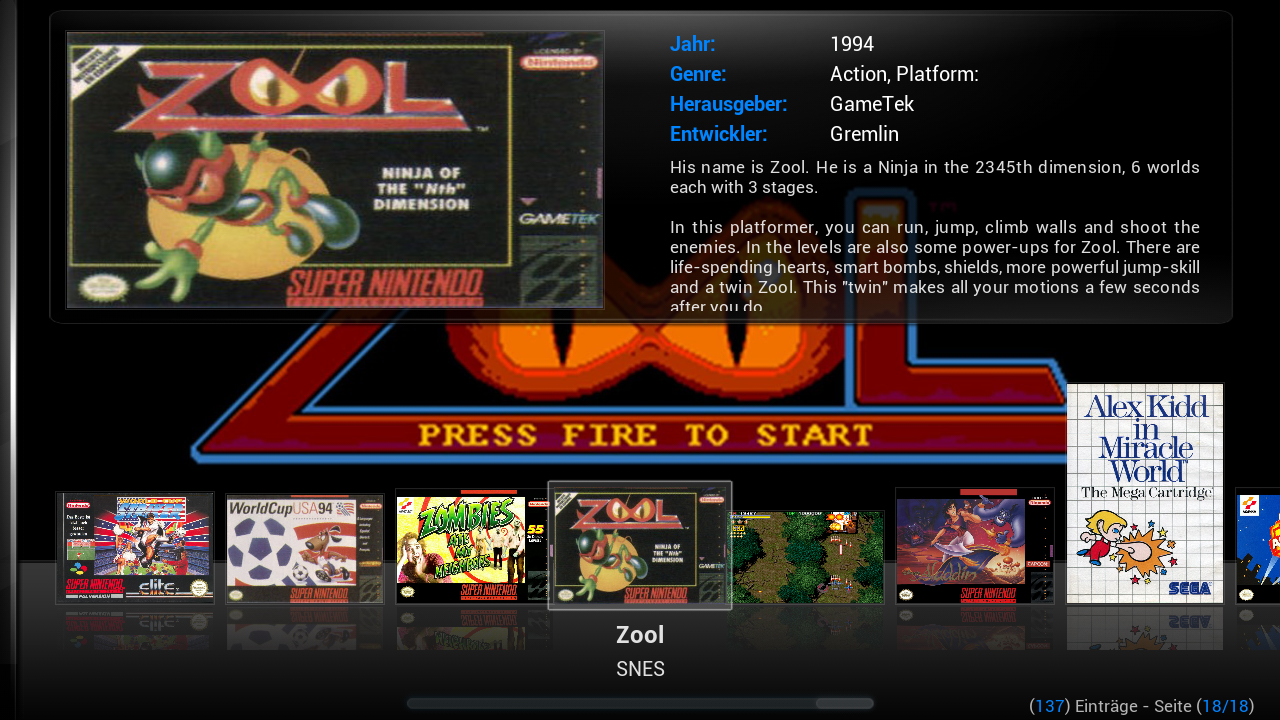 Figure 1 - Rom Collection Browser in ODROID GameStation Turbo