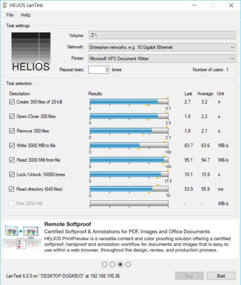 Figure 4 - HELIOS LanTest Before Encryption