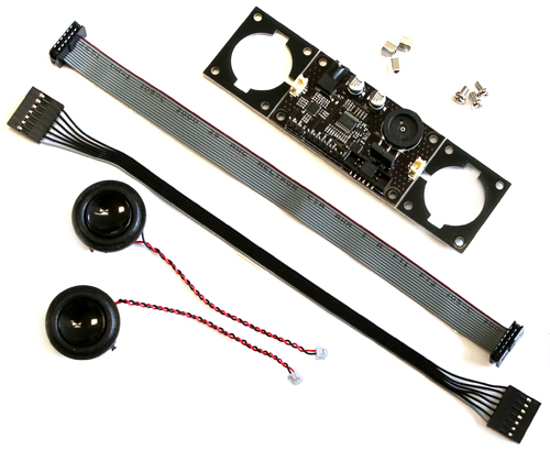 Figure 2 - The Stereo Boom Bonnet includes speakers, spacers, and your choice of ribbon cable