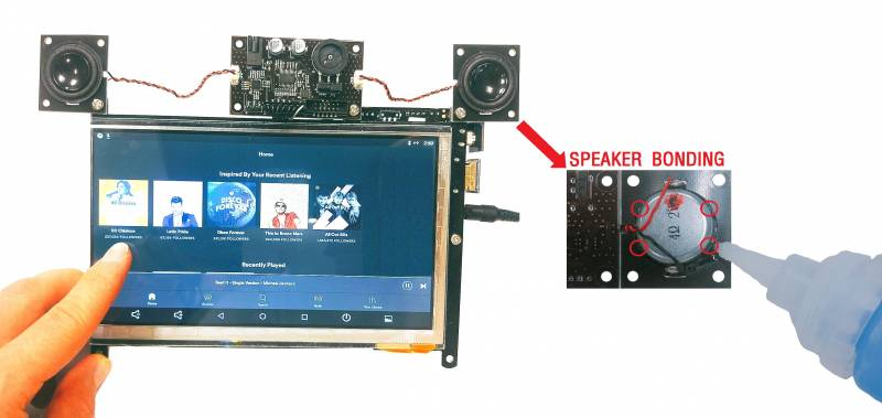 Figure 4 - The Stereo Boom Bonnet speakers can also be separated and attached anywhere with a small amount of glue