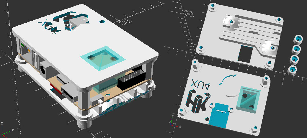 Figure 1 - ODROID-XU4 SBC Water Cooled Case Design with RTC and UART holder