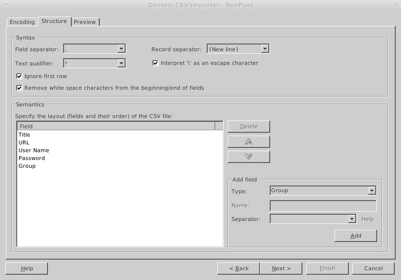 Figure 8 - Import settings